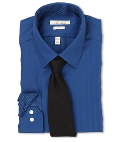 Perry Ellis - Slim Fit Tonal Stripe Dress Shirt