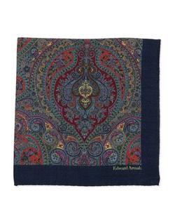 Edward Armah  - Paisley-Print Wool Pocket Square