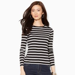 Ralph Lauren - Buttoned-Shoulder Striped Top