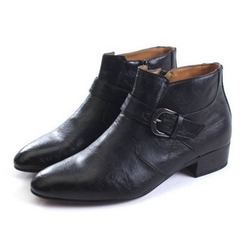 Epic Step - Zip Buckle Leather Ankle Boots