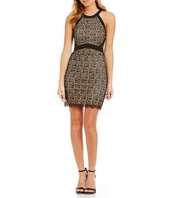 Jodi Kristopher - High Neck Rose Lace Dress