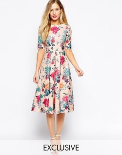 Closet  - Scuba Midi Skater Dress In Floral Print