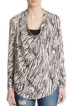 Hautie Hippie - Striped Silk Cowlneck Blouse