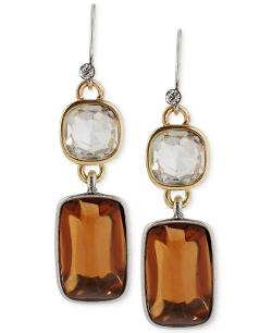 Kenneth Cole New York  - Two-Tone Faceted Bead Double Drop Earrings