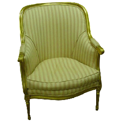 Estate Treasure Trove - Louis XVI Style Bergere, Gilded Frame, Pink Striped Upholstery