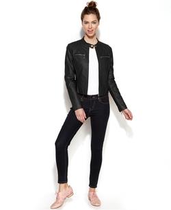 Jou Jou - Zip-Front Leather Jacket