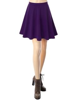 Doublju - Basic Versatile Stretchy Flared Skater Skirt