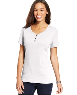 Karen Scott - Petite Short-Sleeve V-Neck Henley Top
