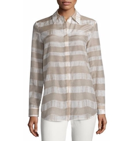 Lafayette 148 New York - Brody Long-Sleeve Striped Blouse