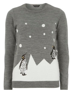 Dorothy Perkins - Grey Sequin Penguin Jumper