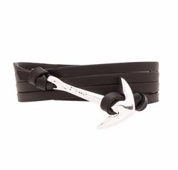 Miansai - Silver Anchor On Leather Bracelet