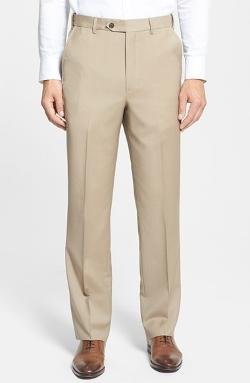 Berle - Self Sizer Waist Flat Front Wool Pants