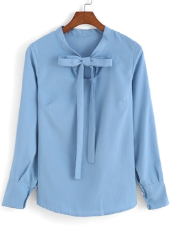Romwe - Self-Tie Bow Sky Blue Blouse