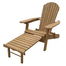 Atlantic Outdoor  - Foldable Adirondack Chair with Pull Out Ottoman