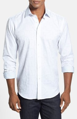 Bugatchi  - Shaped Fit Tonal Check Sport Shirt
