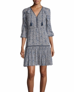 Elie Tahari - Landon 3/4-Sleeve Printed Silk Dress