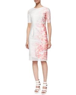 Elie Tahari - Emory Short-Sleeve Sheath Dress W/ Mesh Detail