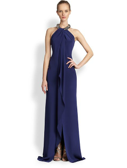 Carmen Marc Valvo  - Sleeveless Silk Halter Gown