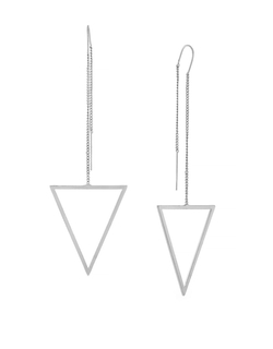 BCBGeneration - Silvertone Threader Forever Long Triangle Earrings