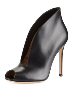Gianvito Rossi	 - Leather V-Neck Peep-Toe Bootie