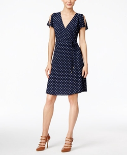Michael Kors - Printed Split-Sleeve Wrap Dress