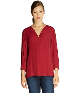 Bobeau  - Solid V Neck Blouse