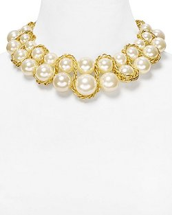 Aqua - Faux-Pearl Chain Collar Necklace