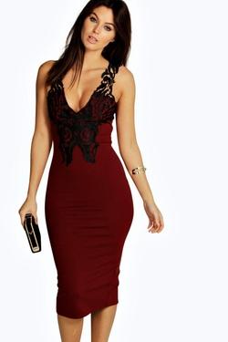 Boohoo Night - Kylie Trim Detail Plunge Bodycon Dress