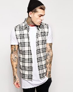 Asos - Ecru and Black Mid Scale Check Shirt