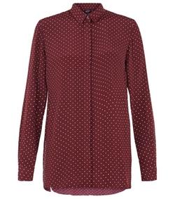 Ideal 5 Garments - Crepe Polka Dot Long Sleeve Shirt
