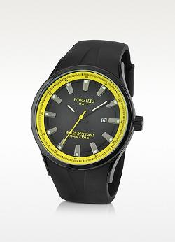 Forzieri - Black Rubber Strap Date Watch