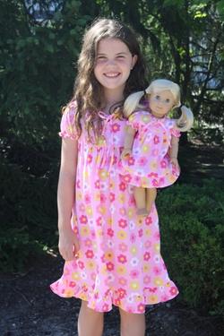 Weeline - Short Sleeve Pink Flower Nightgown