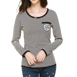 Your Gallery Dress - Long Sleeve Stripe Letter Pattern Shirt Top