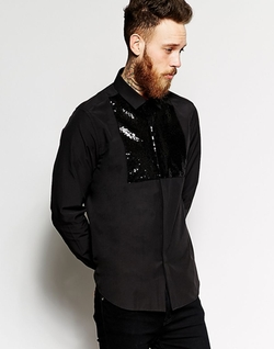Asos - Black Shirt With Sequin Bib And Long Sleeves
