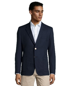 Prada - Blue Hopsack Cotton 2-Button Blazer