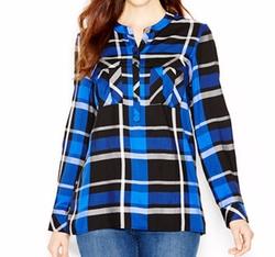 Kensie - Long-Sleeve Plaid Shirt
