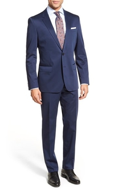 Boss - Trim Fit Solid Stretch Cotton Suit