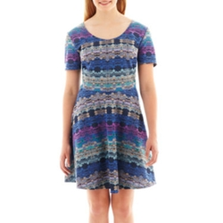 City Triangles - Short-Sleeve Knit Skater Dress