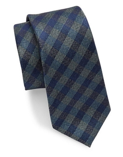 Black Brown 1826  - Checked Silk Tie