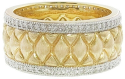 Jude Frances - Wide Marquis Quilted Ring with Diamonds