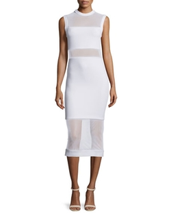 Alice + Olivia  - Karman Sleeveless Mesh-Trim Midi Dress
