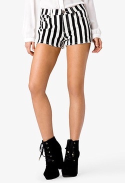 Forever21 - Frayed Striped Denim Shorts