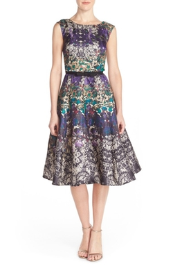 Gabby Skye  - Floral Shantung Fit & Flare Dress