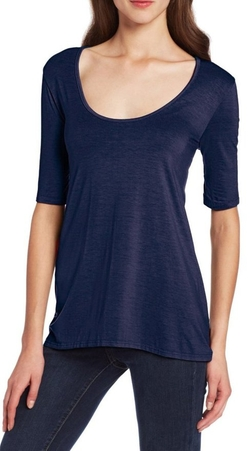 Three Dots - Mid Sleeve Relaxed Hi-Lo Top