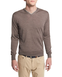 Peter Millar  - Silk-Blend V-Neck Pullover Sweater