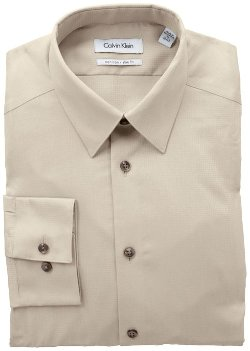 Calvin Klein  - Solid Textured-Check Dress Shirt