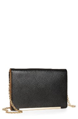 Halogen - Flap Glazed Saffiano Leather Crossbody Clutch Wallet