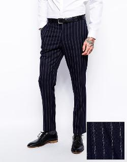 ASOS  - Slim Fit Suit Pants in Fine Stripe