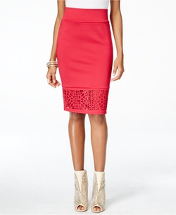 Thalia Sodi - Lace-Hem Scuba Pencil Skirt