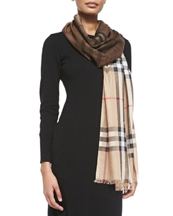 Burberry - Check Wool/silk Scarf, Camel/brown